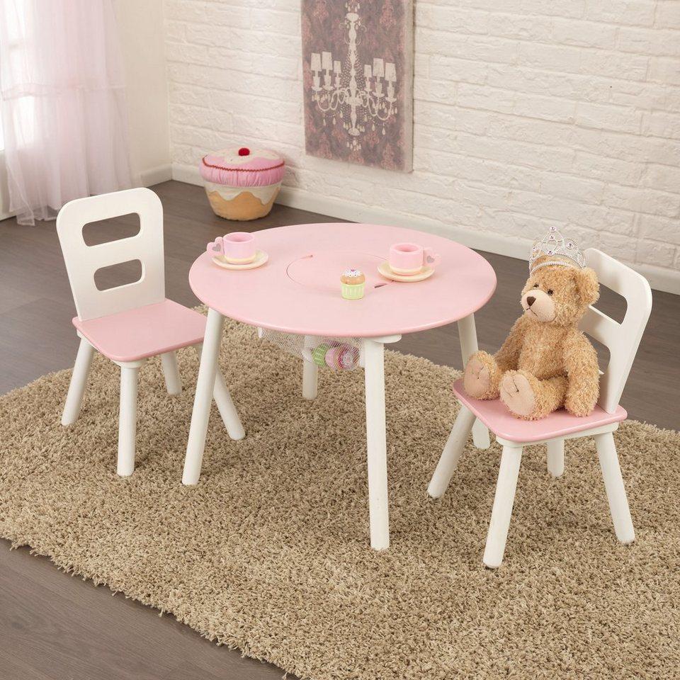 kidkraft kindertisch mit staufach und 2 st hlen runder aufbewahrungstisch online kaufen otto. Black Bedroom Furniture Sets. Home Design Ideas