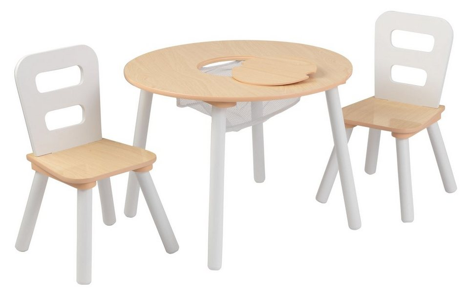 KidKraft® Kindertisch mit Staufach und 2 Stühlen, »Runder Aufbewahrungstisch«