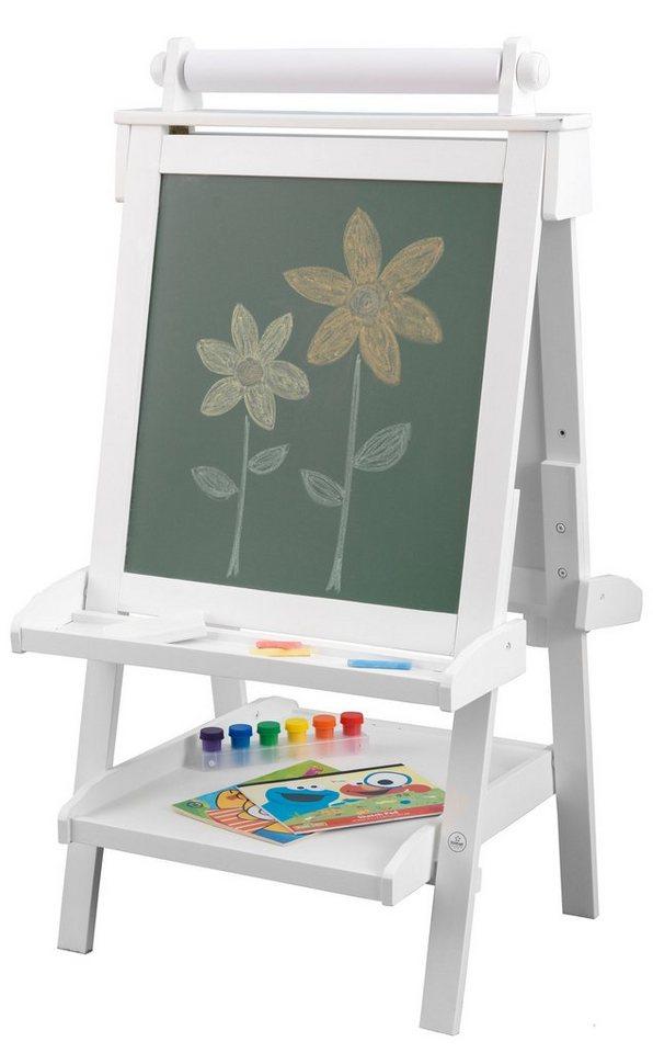 KidKraft® Tafel mit Papierrolle, beidseitig beschreibbar, weiß in weiß