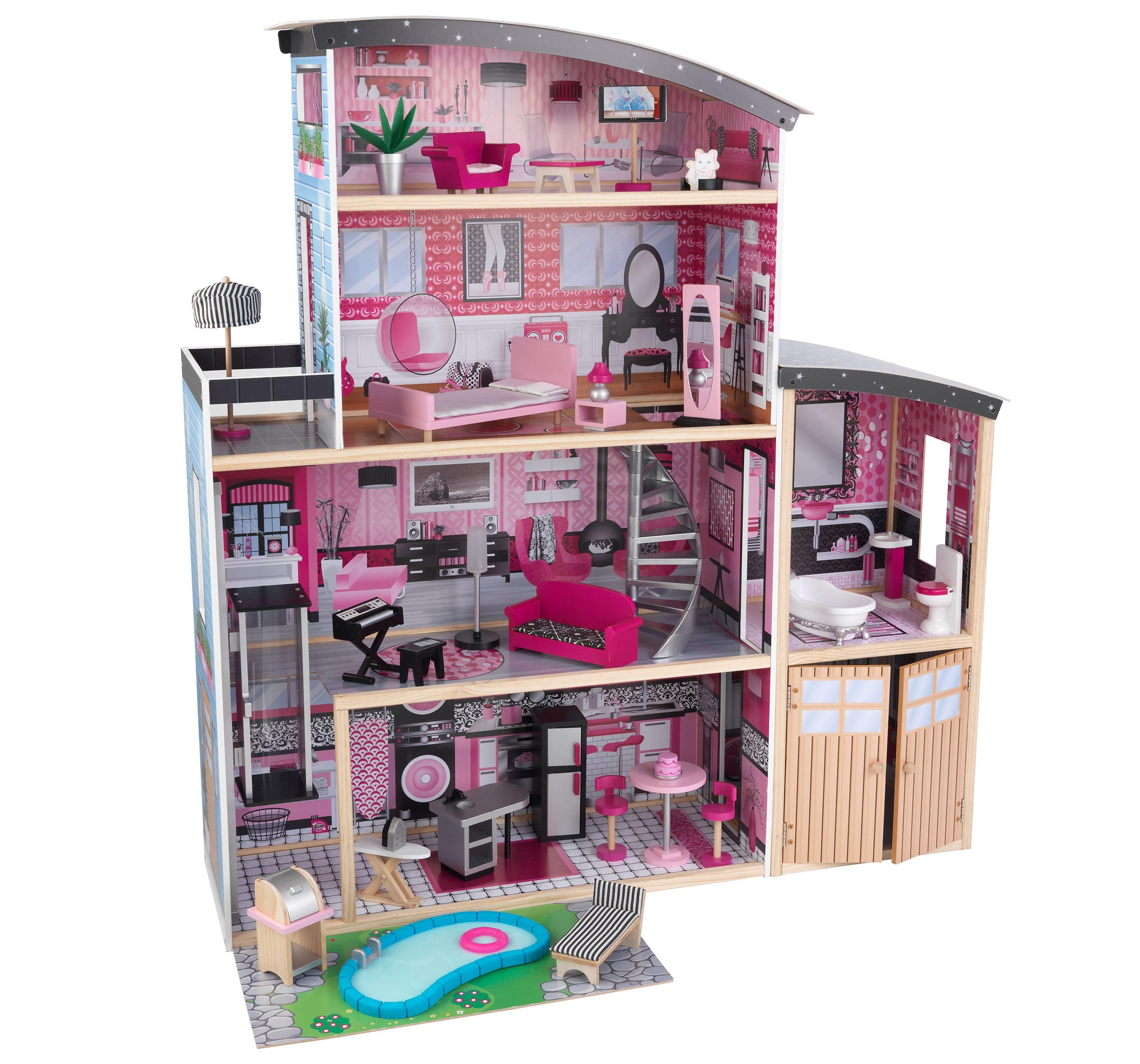 KidKraft® Puppenhaus inkl. 30-tlg. Möbelset, »Glitzer Puppen-Villa«
