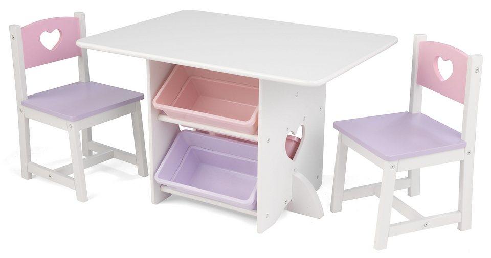 Kindermöbel tisch und stühle  KidKraft® Kindermöbel, »Tisch mit Aufbewahrungsboxen und 2 Stühlen ...