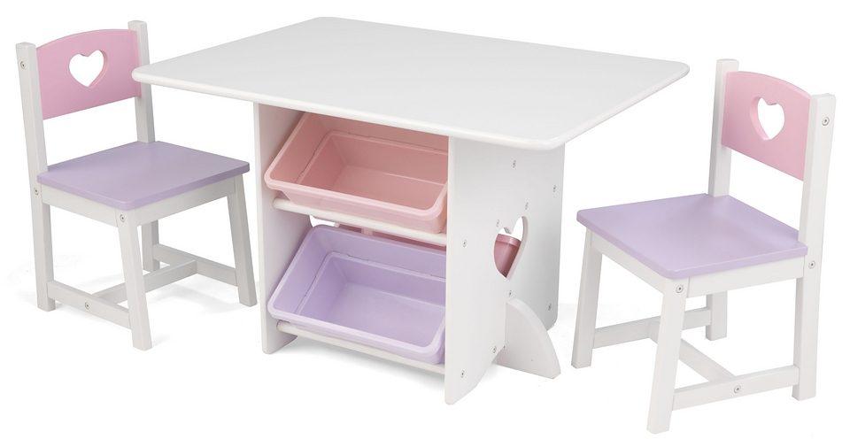 KidKraft® Kindermöbel, »Tisch mit Aufbewahrungsboxen und 2 Stühlen Herzchen«