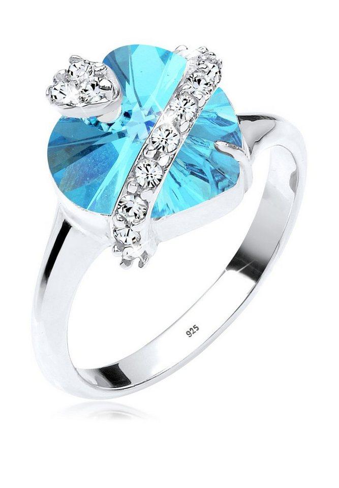 Elli Ring »Herz Swarovski® Kristalle 925 Silber« in Hellblau