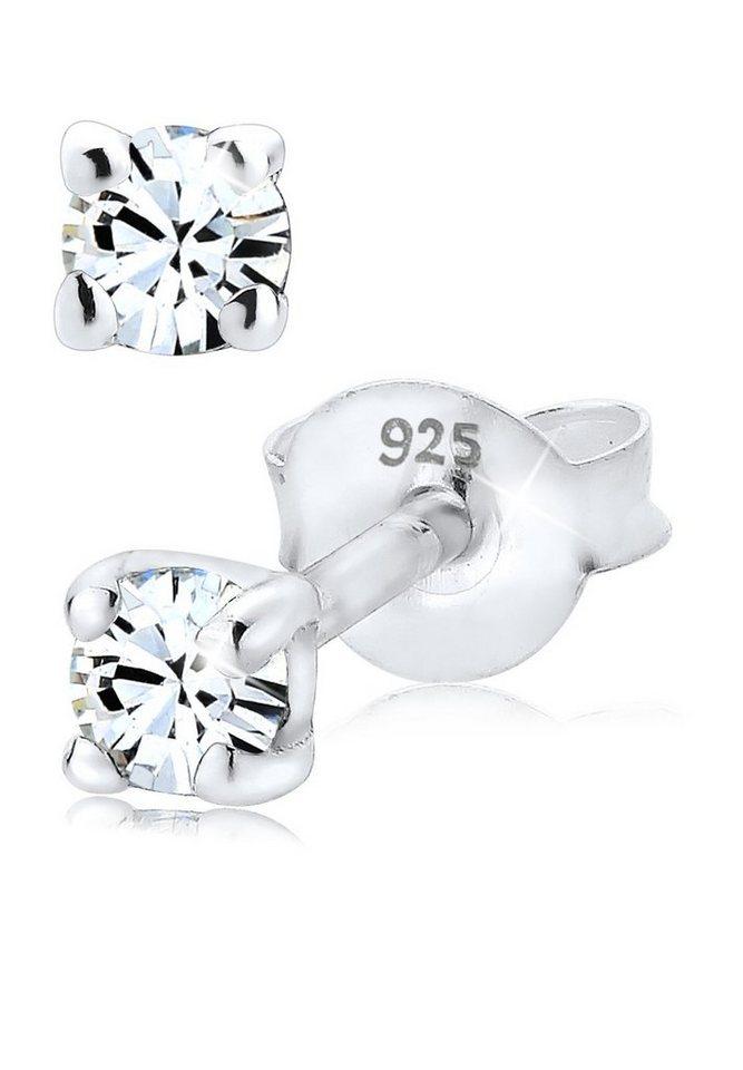 Elli Ohrringe »Swarovski® Kristall Basic Funkelnd 925 Silber« in Weiß