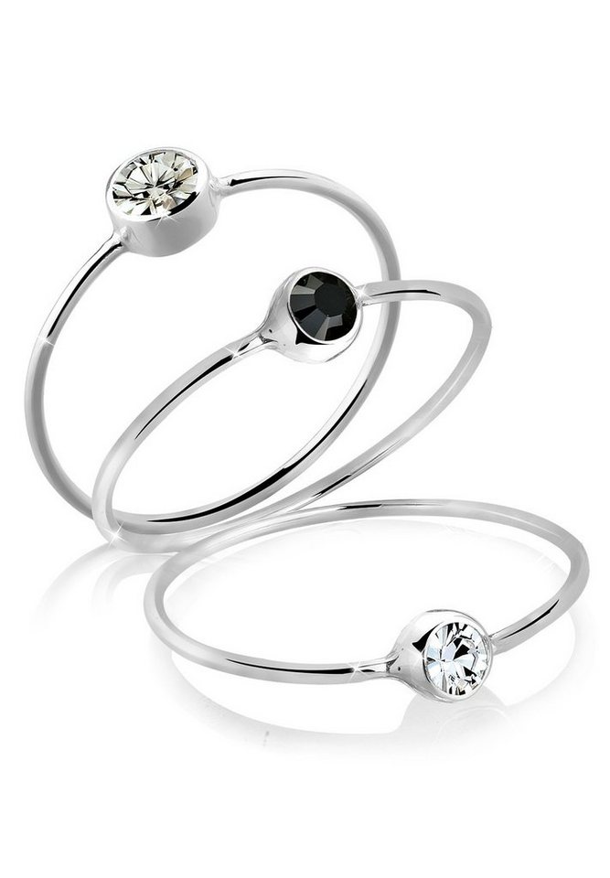Elli Ring »Set Stacking Swarovski® Kristalle Silber« in Grau