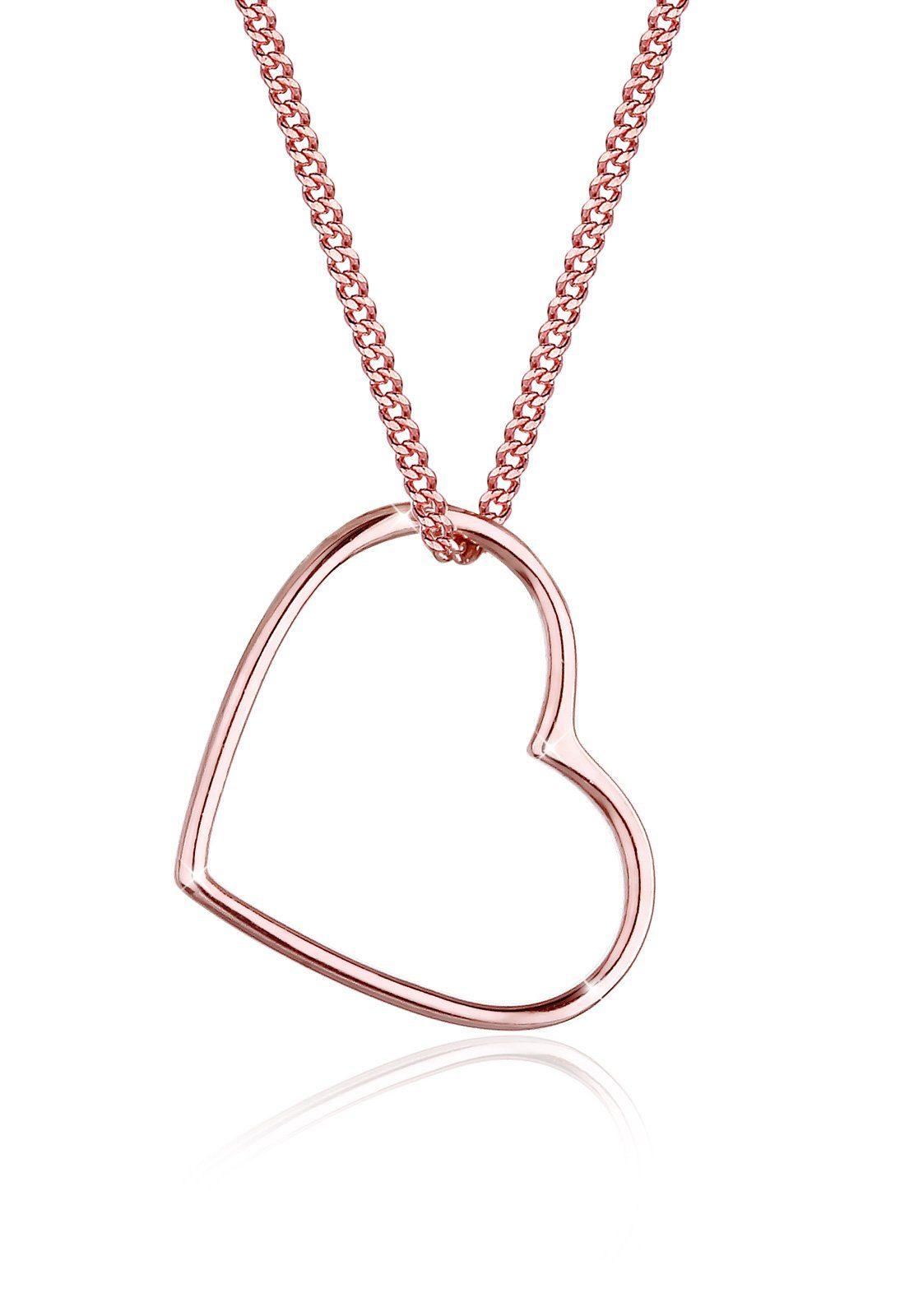 Elli Halskette »Herz Liebe 925 Silber rosé vergoldet«