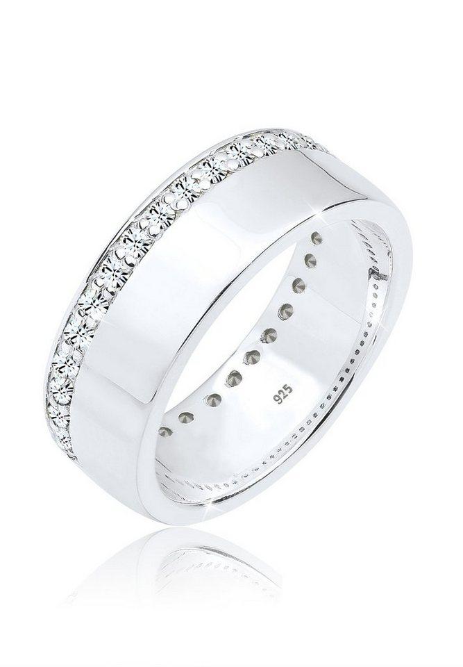 Elli Ring »Bandring Swarovski® Kristalle 925 Silber« in Weiß