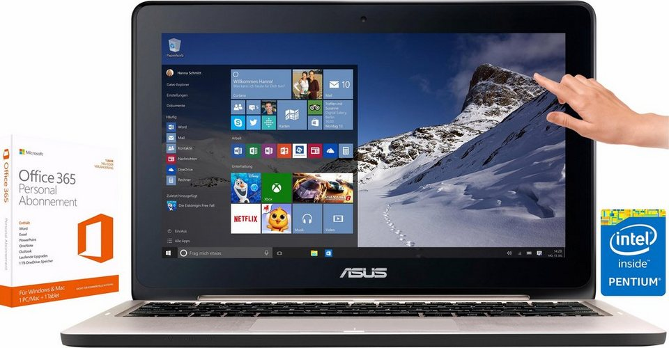 Asus TP200SA Notebook inkl. Office 365 Personal, Intel® Pentium™, 32 GB Speicher, 2048 MB in Silber