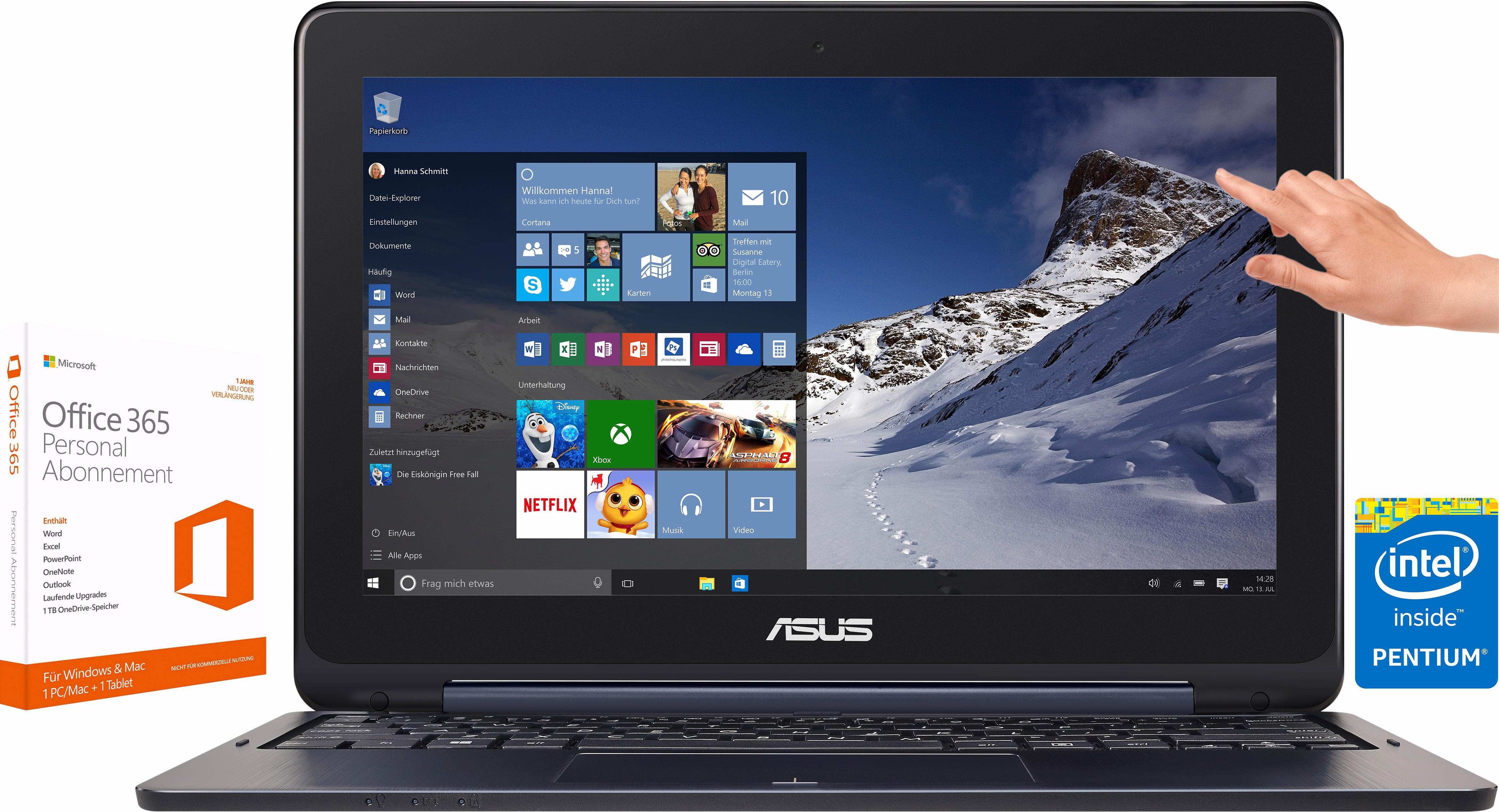 Asus TP200SA Notebook inkl. Office 365 Personal, Intel® Celeron™, 32 GB Speicher, 2048 MB