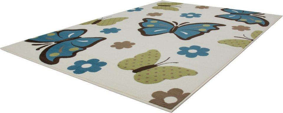 Kinder-Teppich, Kayoom, »Sona 2055«, Schmetterlingsmotiv, gewebt in Türkis