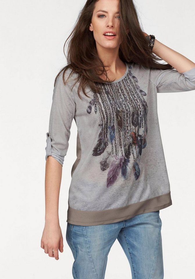 Aniston Langarmshirt in taupe-grau-anthrazit-bunt-bedruckt