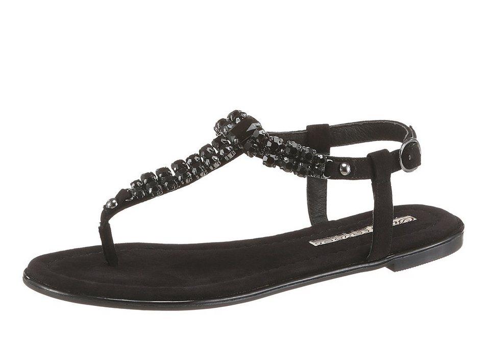 Buffalo Sandale mit Ziersteinchen in schwarz
