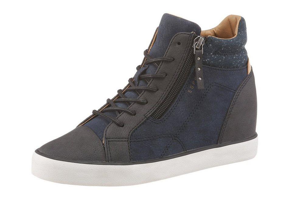 Esprit Wedgesneaker in navy-grau