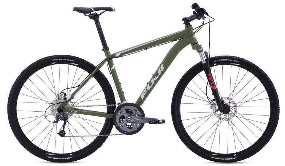 Fuji Herren Crossbike, 28 Zoll, 27 Gang Shimano Kettenschaltung, »Traverse 1.3« in dunkelgrün