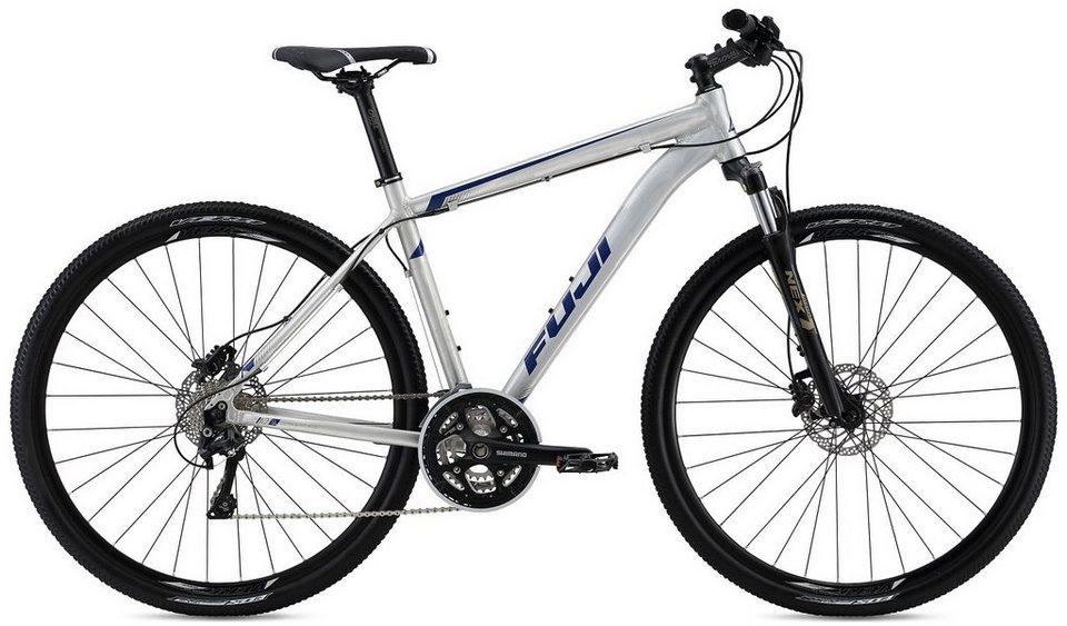 Fuji Herren Crossbike, 28 Zoll, 30 Gang Shimano Kettenschaltung, »Traverse 1.1« in silberfarben