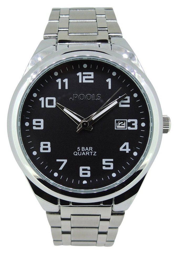Pools Armbanduhr, »3172« in silberfarben-schwarz