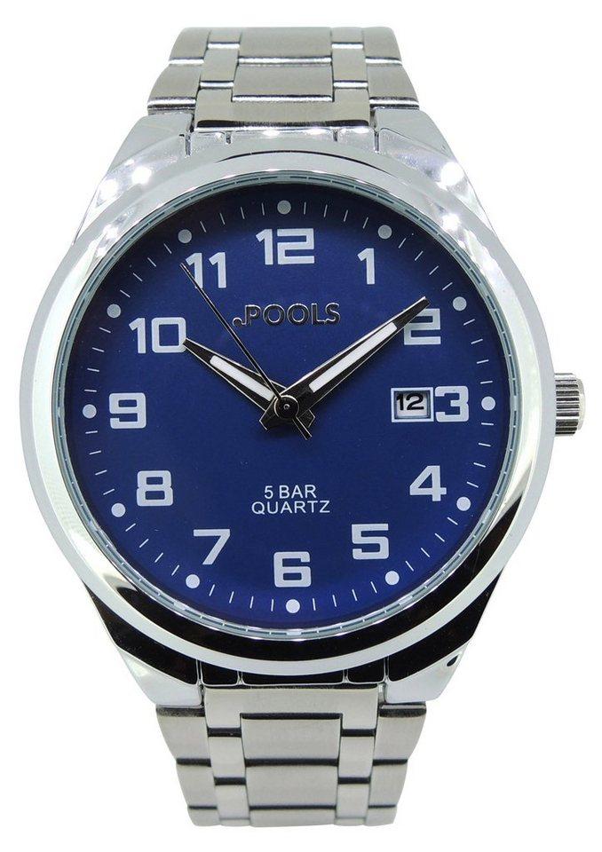 Pools Armbanduhr, »3173« in silberfarben-blau