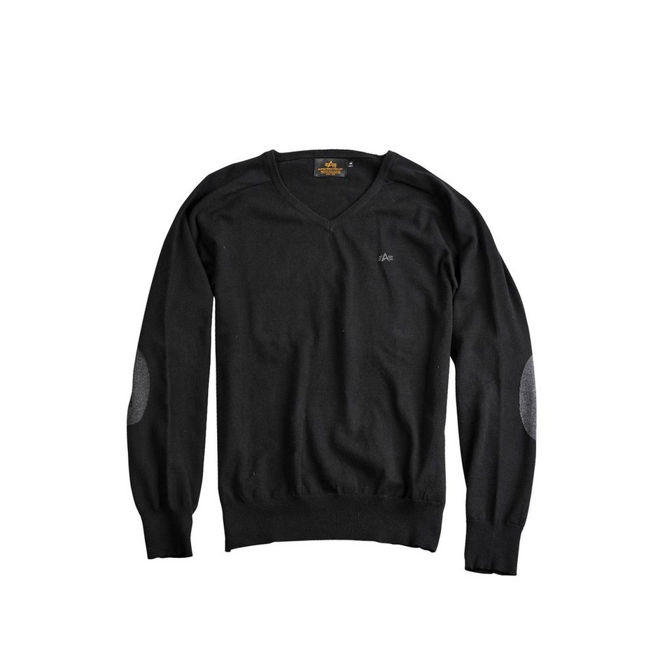 ALPHA INDUSTRIES Pullover »V-Neck Knit« in black