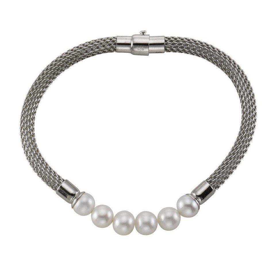 CELESTA Armschmuck »925/- Sterling Silber Perlen« in Silbergrau