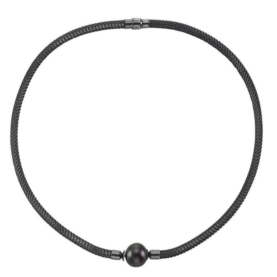 CELESTA Collier »925/- Sterling Silber Perle« in schwarz