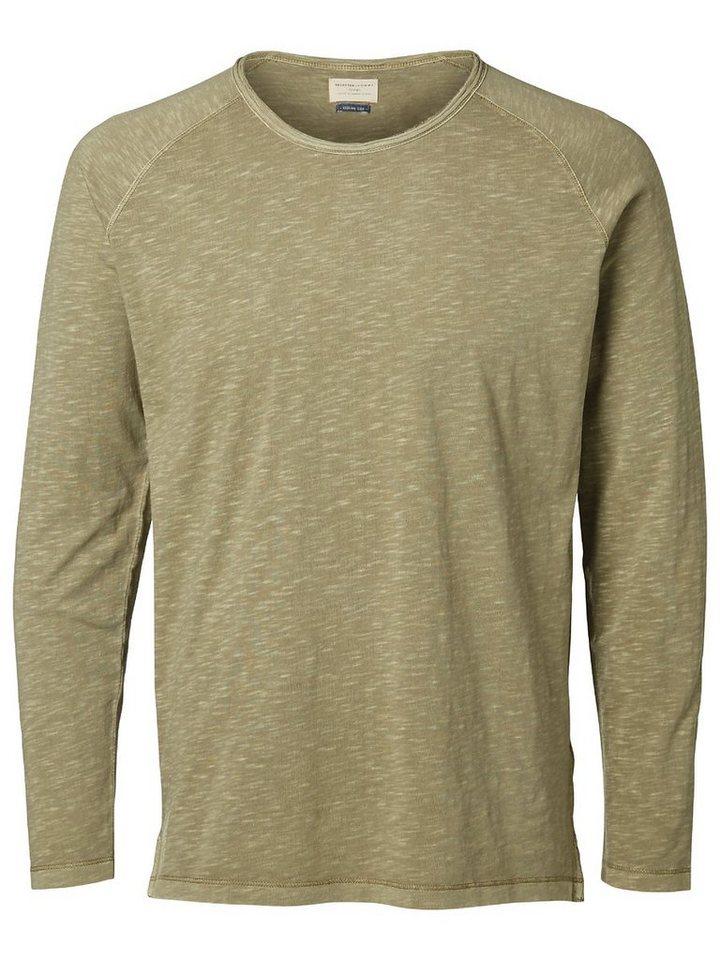 Selected Rundausschnitt T-Shirt mit langen Ärmeln in Dried Herb