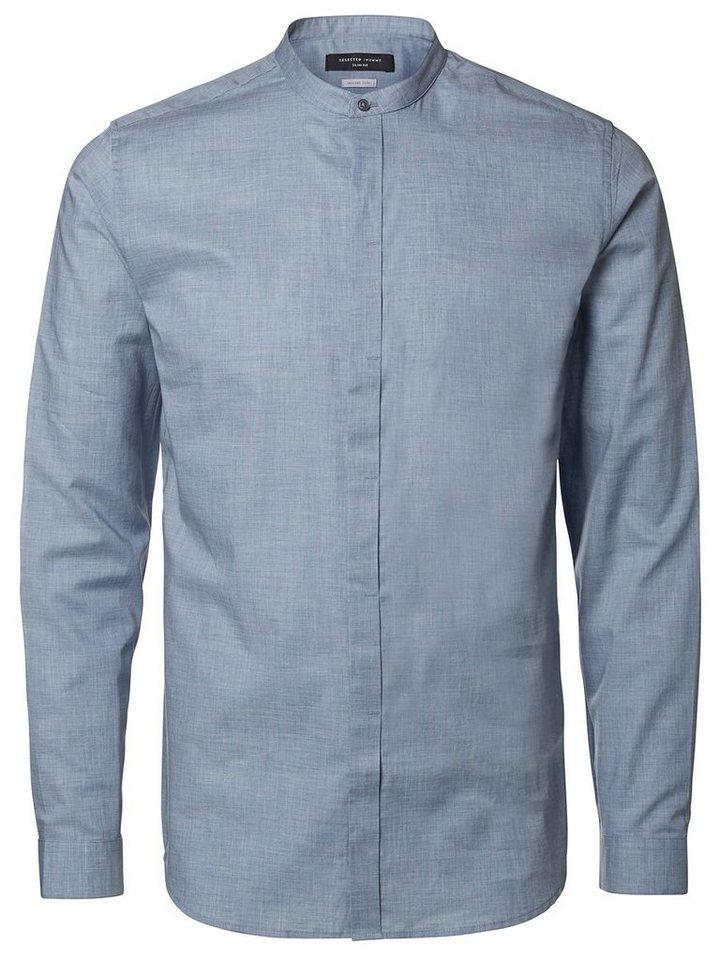 Selected Chinakragen- Hemd in Light Blue