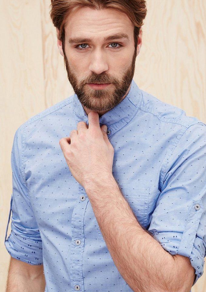 s.Oliver Slim: Hemd mit Pünktchen-Struktur in fog blue dobby