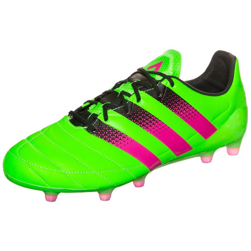 adidas Performance ACE 16.1 FG/AG Leather Fußballschuh Herren in grün / pink