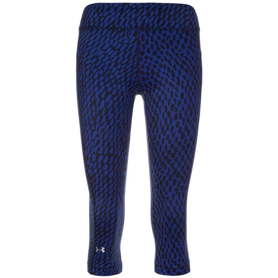 Under Armour® HeatGear Armour Printed Capri Trainingstight Damen in blau / schwarz