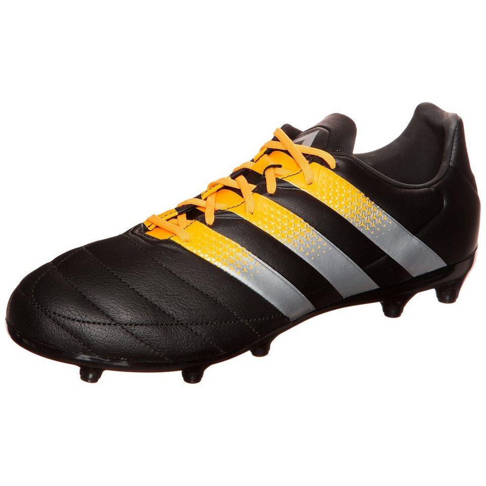 adidas Performance ACE 16.3 FG/AG Leather Fußballschuh Herren in schwarz / orange