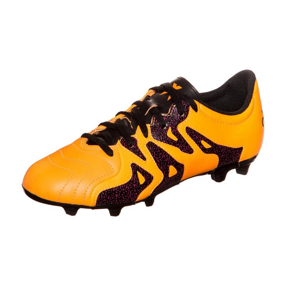 adidas Performance X 15.3 FG/AG Leather Fußballschuh Kinder in gold / schwarz