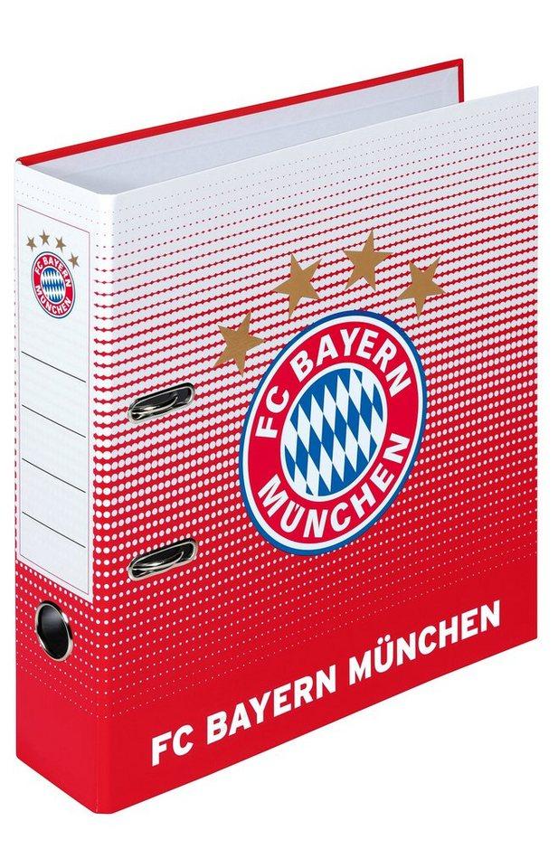 FC Bayern München Ringbuchordner, »FC Bayern DIN A4 Ordner breit« in weiß/rot