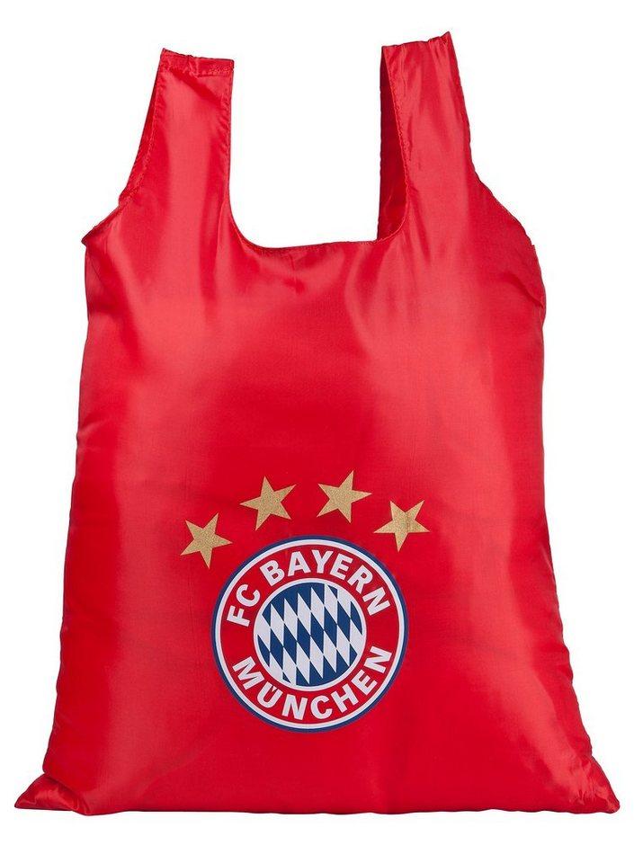 FC Bayern München Shopper faltbar mit Clip zum Aufhängen in rot