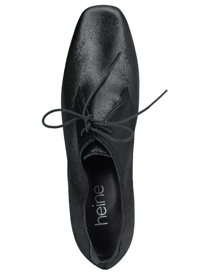Schnürpumps in schwarz/metallic