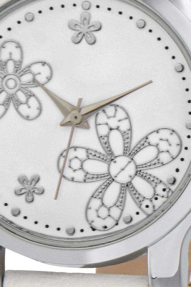 Armbanduhr in weiß/silberfarben