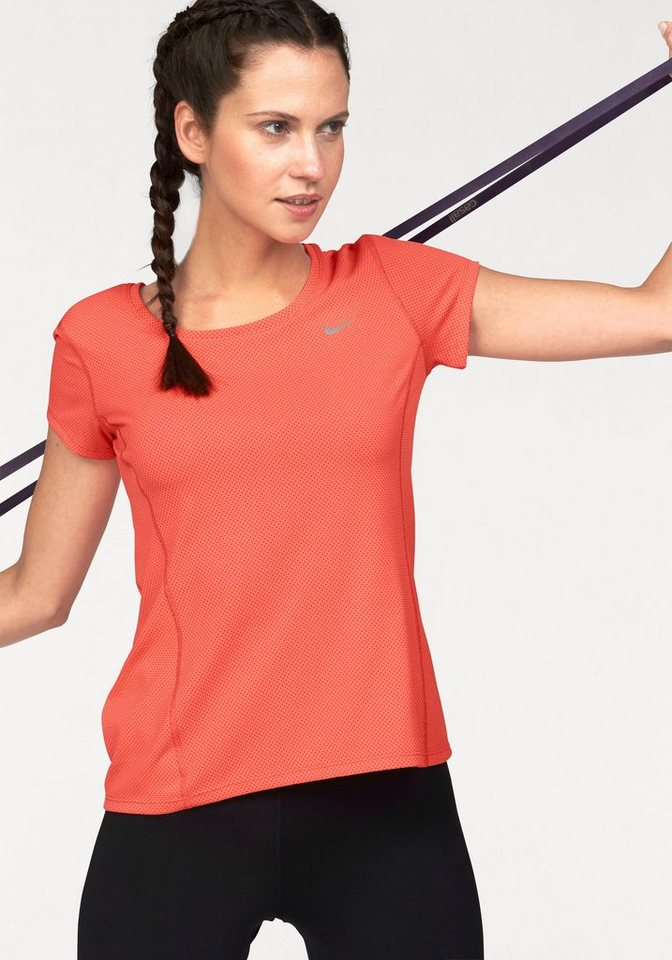 Nike DRI-FIT CONTOUR SHORT SLEEVE Laufshirt in Koralle