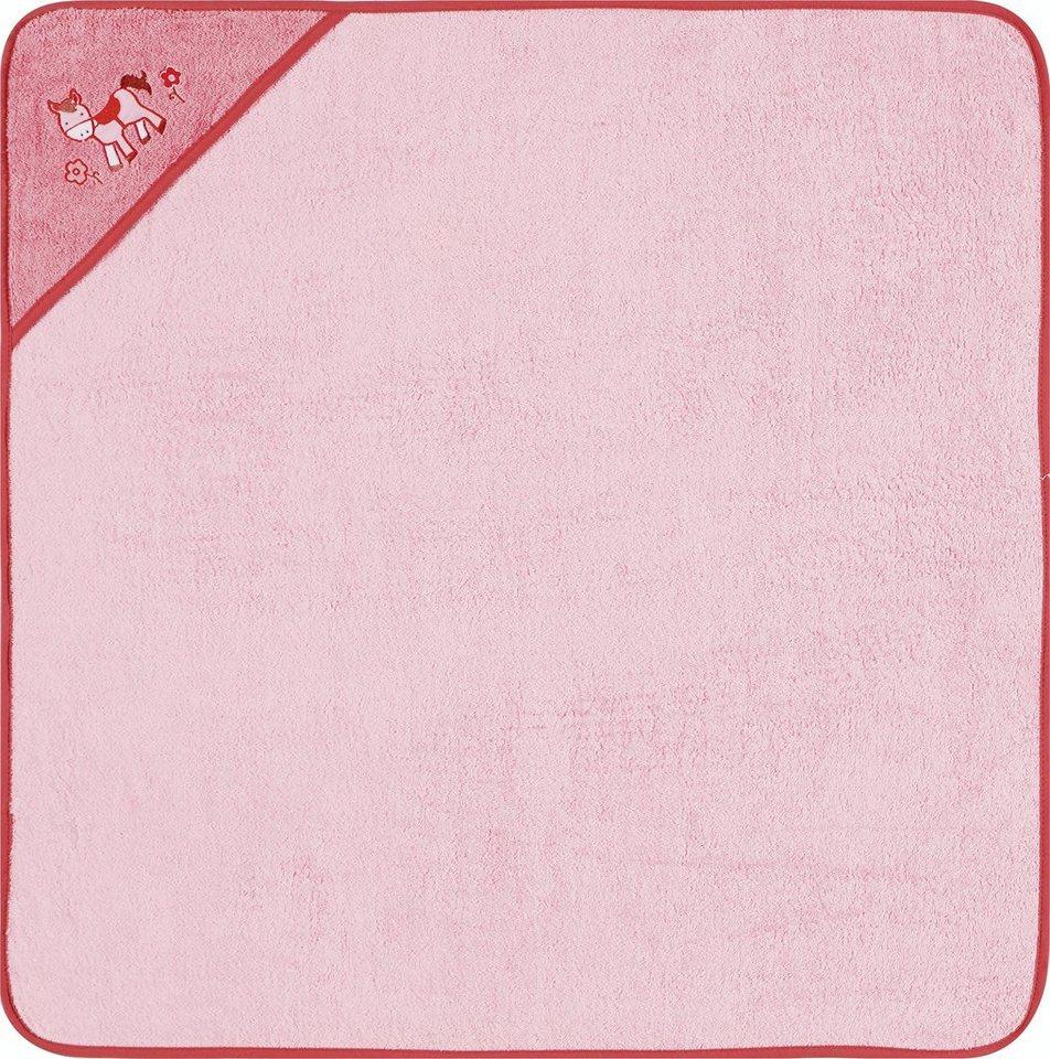 Kapuzenhandtuch, Egeria, »Pony«, mit gesticktem Motiv in rosa