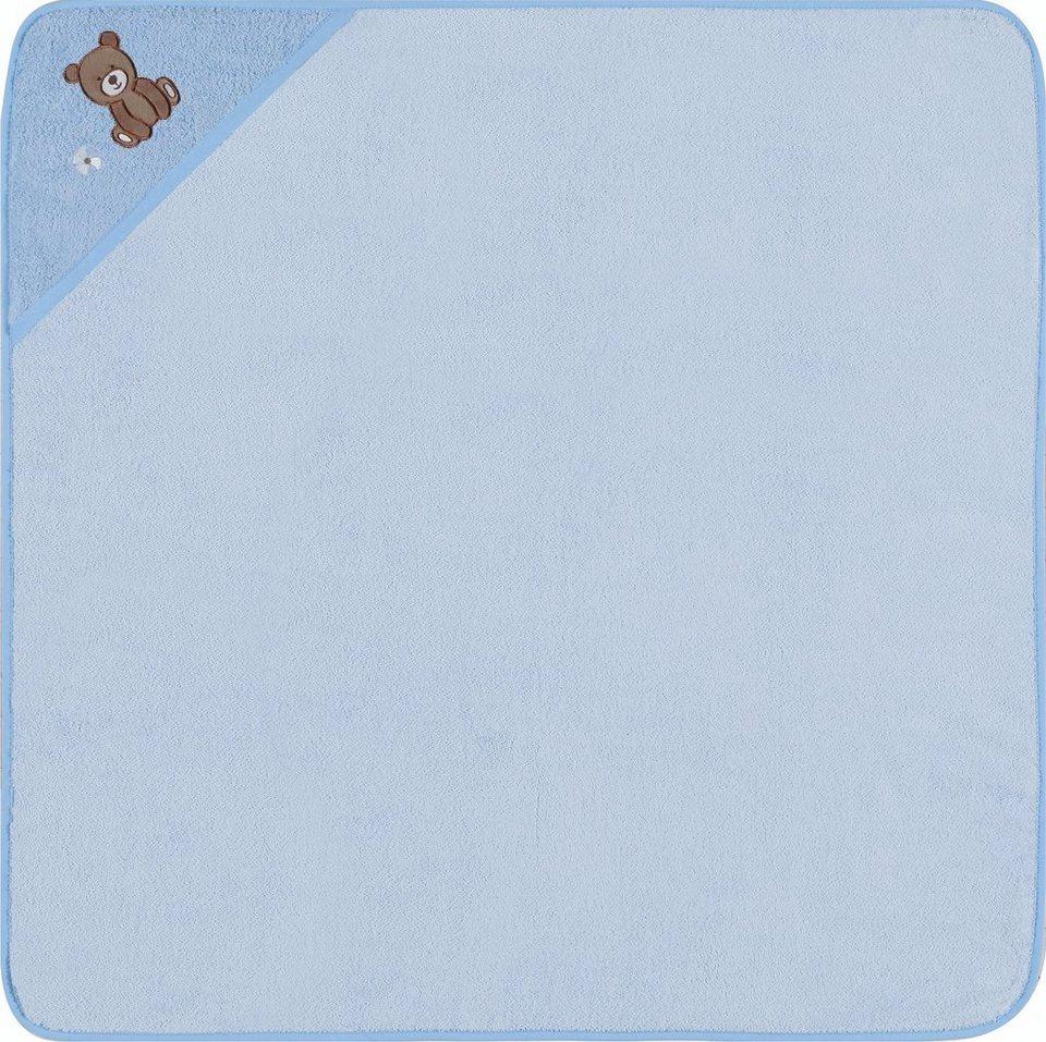 Kapuzenhandtuch, Egeria, »Teddy Bear«, mit Stickerei in hellblau