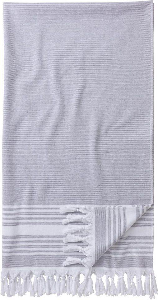Hamamtuch, Egeria, »Pestemal«, mit leichten Streifen in grau