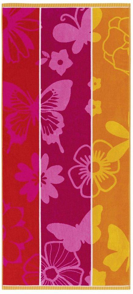 Strandtuch, Egeria, »Mia«, mit Blumen und Schmetterlingen in multi