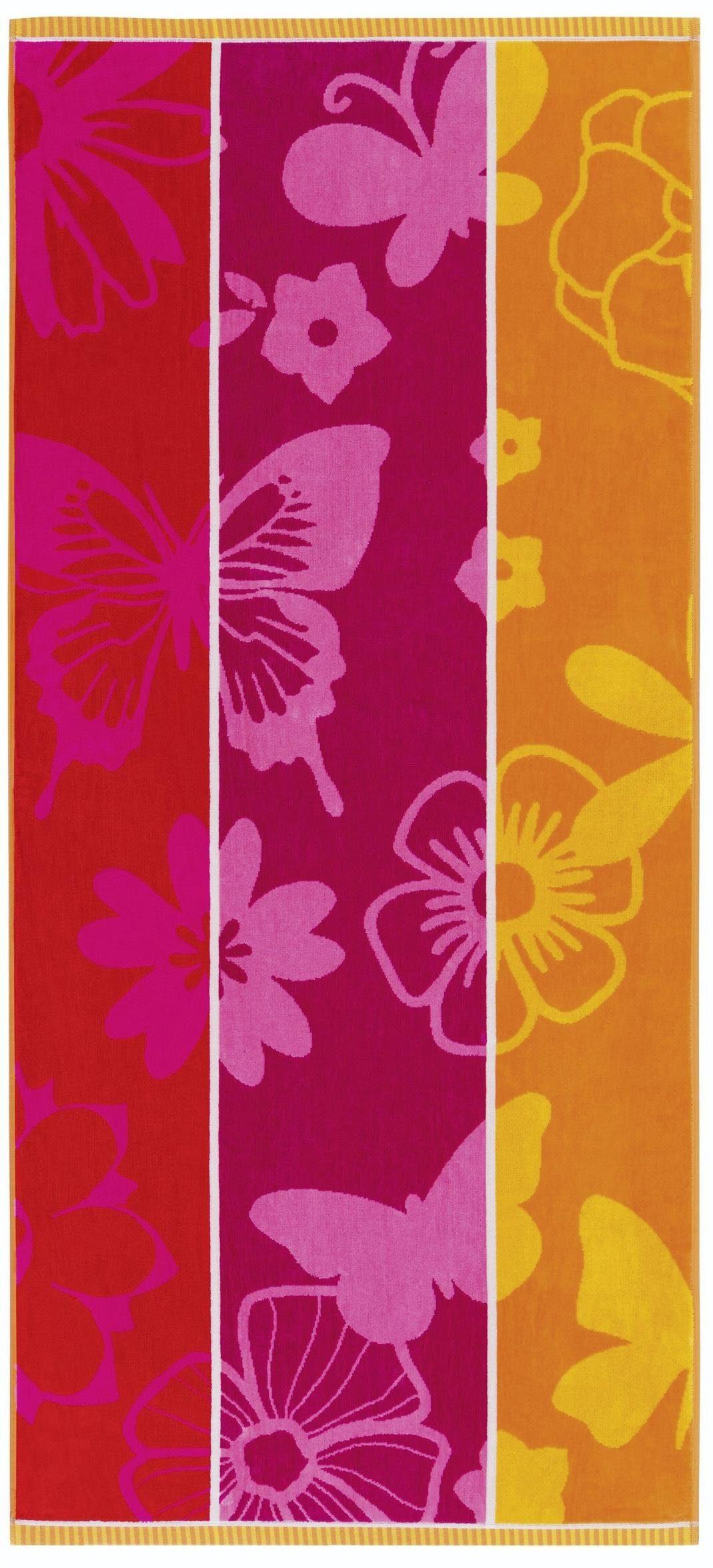 Strandtuch, Egeria, »Mia«, mit Blumen und Schmetterlingen