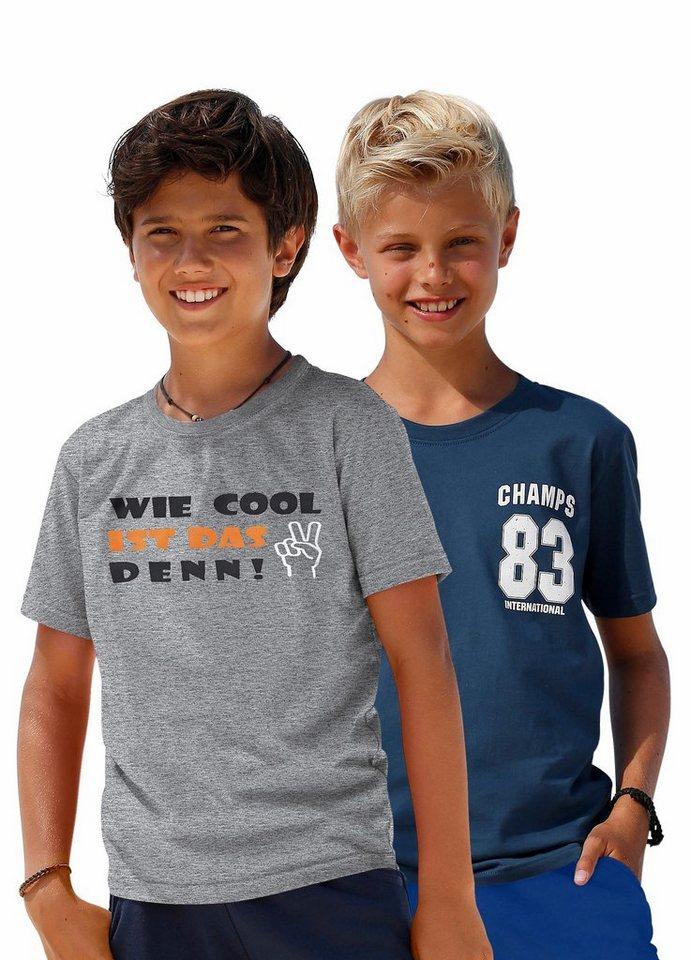 KIDSWORLD T-Shirt (Packung, 2 tlg.) in grau-meliert+marine