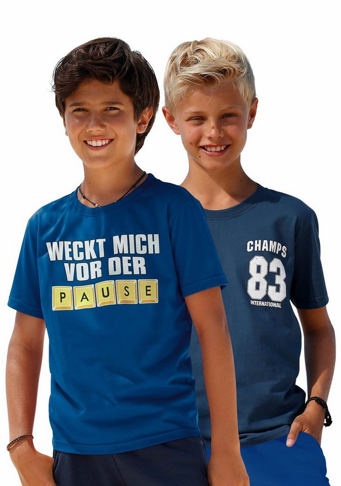 KIDSWORLD T-Shirt (Packung, 2 tlg.) in royalblau+marine