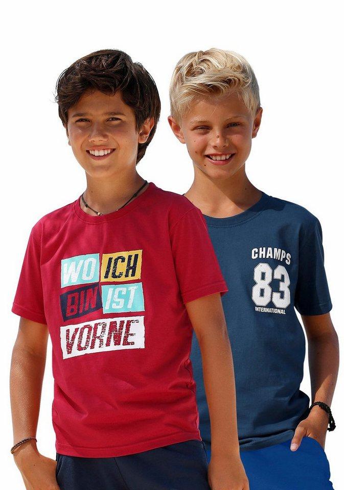 KIDSWORLD T-Shirt in rot+marine