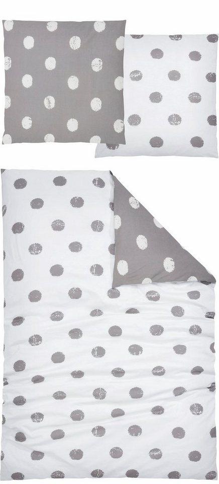 Bettwäsche, Home affaire Collection, »Perie«, mit melierten Punkten in grau-weiß