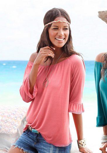 LASCANA Off-Shoulder-Shirts mit Häkelborte (2 Stück)