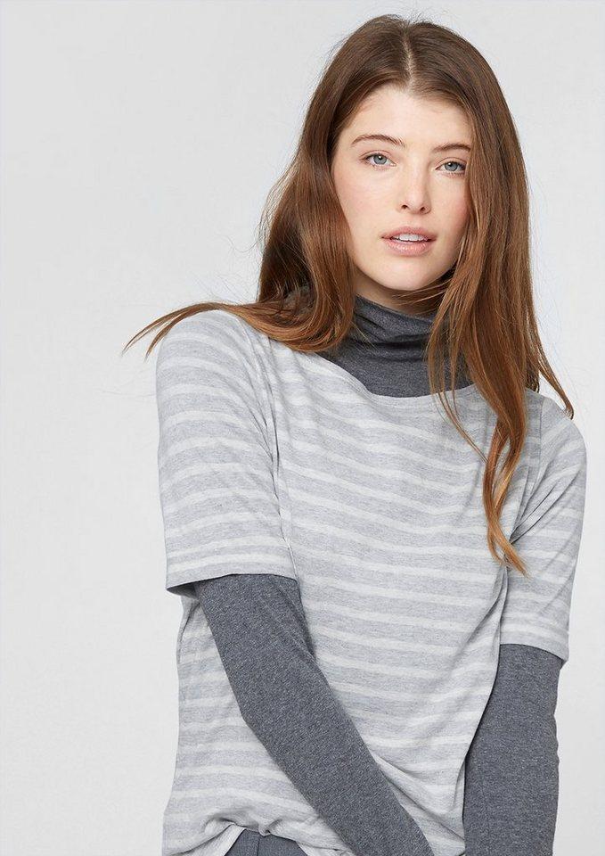 s.Oliver Ringelshirt aus Modal-Mix in grey/white stripes