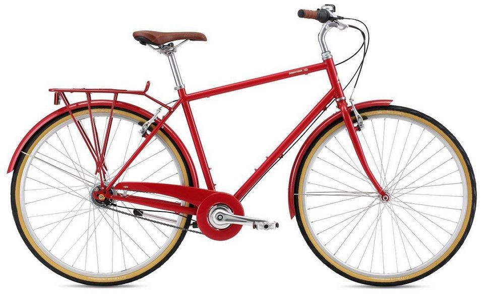 Breezer Herren Trekkingbike, 28 Zoll, 8 Gang Shimano Nabenschaltung, »Downtown 8 US« in rot