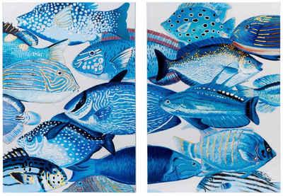 Schneider Leinwandbild, (Set, 2 Stück), Motiv Fische