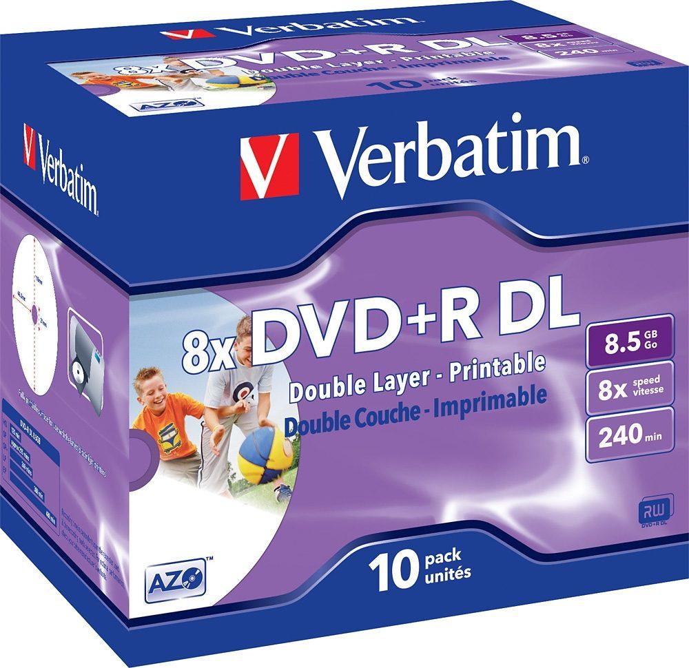Verbatim DVD+R DL 8.5GB/240Min/8x Jewelcase (10 Disc)